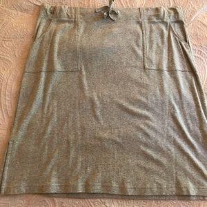 Heather gray knit drawstring skirt